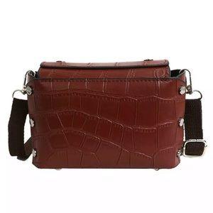 Handbags - NEW! BROWN BOXY FAUX SNAKESKIN CROSSBODY BAG